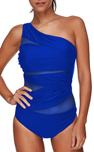 OLIPHEE Damen Schlankheits Badeanzug One Shoulder Raffung Einteiler Bademode Strandmode Blau One Shoulder S