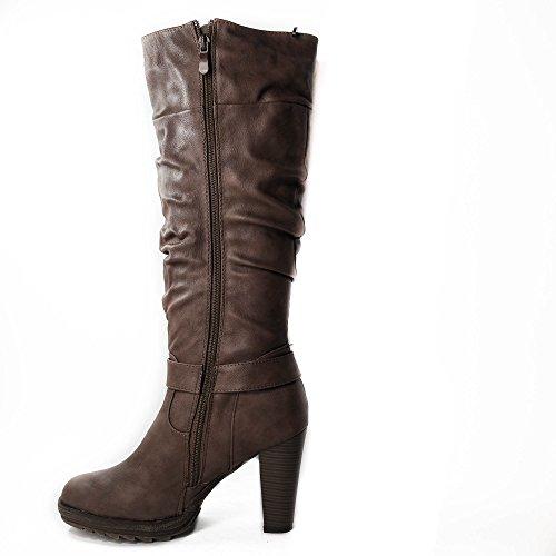 Damen Stiefel gefüttert High Heels Boots Stiefeletten ZH530 Khaki oZHrU
