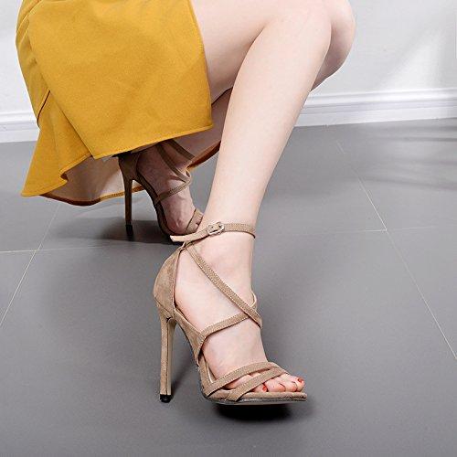 ZYUSHIZ Frau Video dünn Die Fein mit Satin Die Fein mit High-Heel coole Sandalen Hausschuhe 37EU