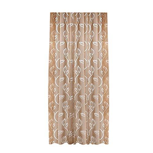 Vosarea Gardinen Transluzente Fensterscheiben mit Blättern Muster Voile Tüll Vorhänge Vorhänge Stangentasche für Wohnzimmer Küche (Kaffee) 100x270cm -