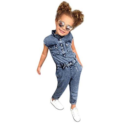 Overall,Kinder Kind Mädchen Bowknot Jumpsuit Jeans Denim Strampler Body Freizeit Kleidung Moginp (130) - Denim Kinder Overalls