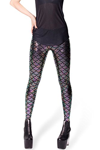 Metallic-leggings Schwarz (DIAMONDKIT Damen Leggings Gr. L, schwarz / silber)