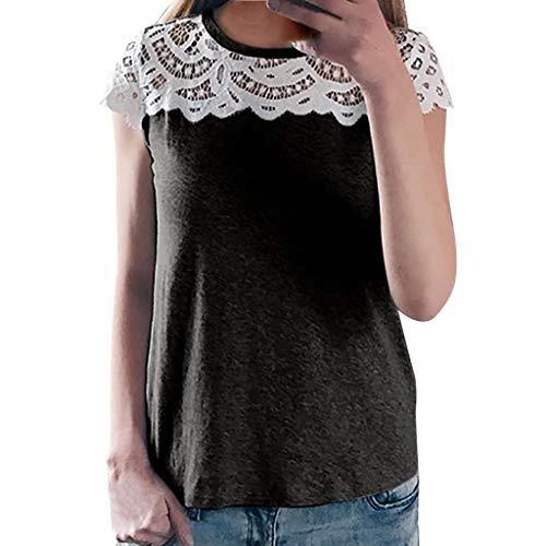 Lazzboy Donna T-Shirt Solid V-Neck Lace Hollow Raglan Manica Corta Tops Taglia 40-48 Elegante Slouch Blouse(2XL(48),Nero)