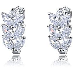 Wearyourfashion Clear Aaa Austrian Zircon Diamond Platinum Plated Stud Earrings For Women