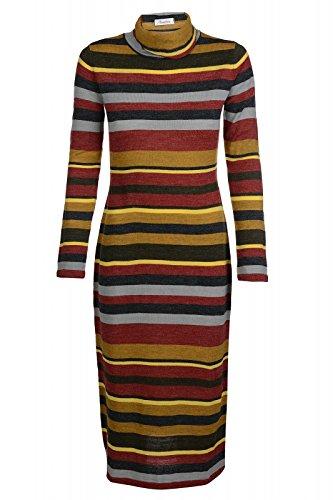 Aniston Kleid Damen Strickkleid Rollkragen Slim Fit Mehrfarbig, Größenauswahl:38