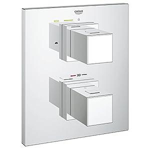 Grohe Grohtherm Cube – Panel de control termostático con inversor bidireccional (para bañeras o duchas con más de una salida) para el termostato empotrado Grohe Rapido T (Ref. 19958000)