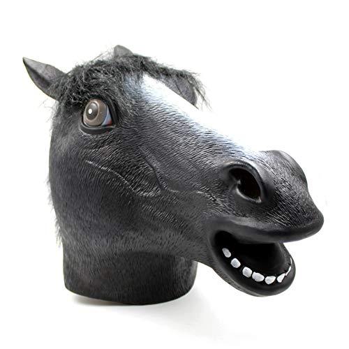 QWER Halloween Maske Cos Latex Horsehead Maske Tanz Tierkopf Horsehead Braun Anzug Party Spielzeug Film Thema Requisiten Versorgung,Black,45X31X31