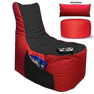 Sitzsack 3er Set Big Gamer Sessel mit EPS Sytropor Füllung - Rückenkissen - Hocker Sitzsäcke Sessel Kissen Sofa Sitzkissen Bodenkissen (Big Gamer Sitzsack 3er Set 2-farbig, Rot - Schwarz)
