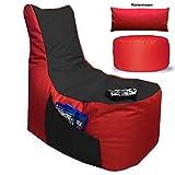 Sitzsack 3er Set Big Gamer Sessel mit EPS Sytropor Füllung - Rückenkissen - Hocker Sitzsäcke...