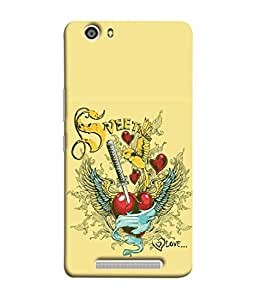 PrintVisa Designer Back Case Cover for Gionee Marathon M5 lite (Vector Art Broken Color Love Ribbon Beautiful Vintage)