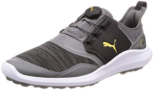 Puma Ignite Nxt Disc, Chaussures de Golf Homme, Noir (Quiet Shade Team Gold Black 02), 44.5 EU