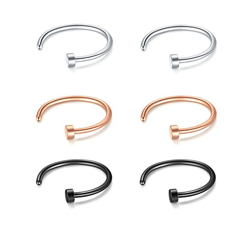fake septum piercing JFORYOU 18G 6mm 6 Stück Fake Nasen Septum Piercing Nasenpiercing Hoop Fake Ohr Cartilage Ring Rose Gold Schwarz und Silber