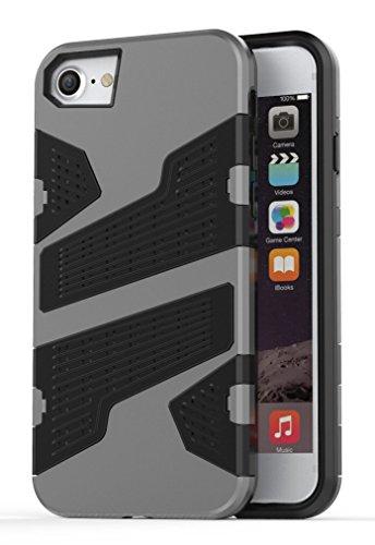 Voguecase® Pour Apple iphone 7 4,7, 2 in 1 Rigide Plastique Shell Housse Coque Étui Case Cover(Armure Mesh-Vert)de Gratuit stylet l'écran aléatoire universelle Armure Mesh-Gris
