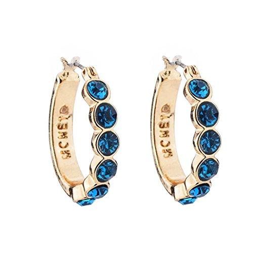 Damen Ohrringe Schmuck Ohrstecker stecker DAY.LIN 1 Paar Frauen Mode Kristall Strass Runde-Form Ohrstecker Ohrringe (Blau) (Swarovski-kristall-leder-handtasche Geldbörse)
