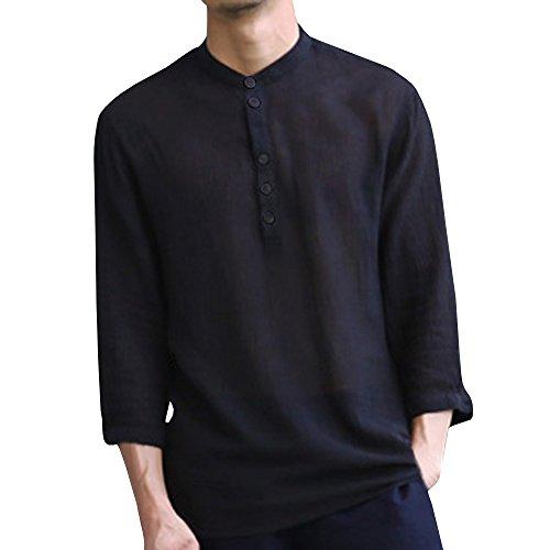 Herren Leinen Langarmshirt Henley Freizeithemd Regular Fit Kragenloses Shirt (Lange Baumwolle Ärmel Stehkragen)