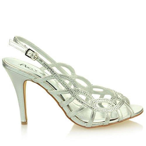Aarz Frauen-Dame-Abend Hochzeit Prom Diamante-Absatz-Sandelholz-Schuh-Größe (Gold, Silber, Schwarz) Silber