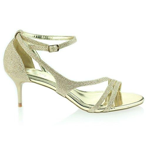Sottile Partito Alla Donne Misura Toe Promo Sera Prom Cinturino Caviglia Delle Media Oro Sandali Signore Open Una Nozze Di Tacco Del Di YBqIpa