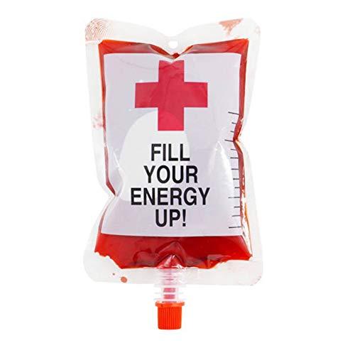 250 ml Plastik-Blutbeutel für Getränke, Party, Gastgeschenke und Zubehör, wiederverwendbar, für Krankenschwestern, Halloween, Abschlussfeier, Mottoparty, Kostüm-Requisiten (Kreativ Krankenschwester Kostüm)