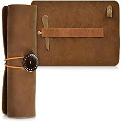kalibri Estuche de cuero enrollable para lápices en marrón - Portalápices de cuero auténtico funda para lápices pinceles - Cubierta vintage