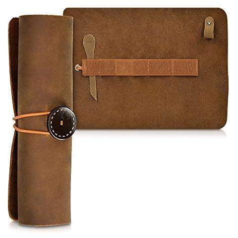 kalibri trousse en cuir - cuir véritable trousse pour stylos pinceaux câble - vintage trousse étui en marron foncé