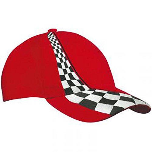 MYRTLE BEACH - Casquette ROUGE style F1 tuning rallye drapeau damier- MB038