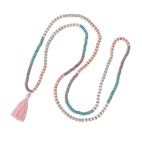 KELITCH Halskette Facettiert Kristall Glas Perlen Strecken Strick Damen Kette mit Quaste Anhänger - Bunt Rosa