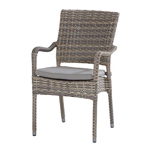 4Seasons Outdoor Chaise empilable Douvres Lagun en polyrotin avec Coussin d'assise Gris