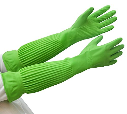 änge Gummi Latex Handschuhe wiederverwendbar Handschuhe wasserdicht für Garten, der ährenlesen washing-1pair, 57,9cm, grün, orange,, grün (Ellenbogen Länge Handschuhe)
