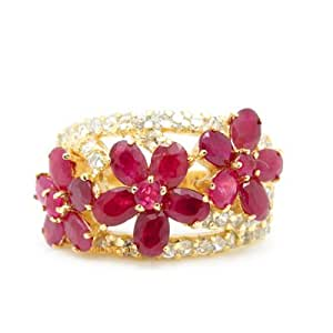 100% Genuine Nature Ruby CZ Diamonds 925 Sterling Silver 18K Yellow Gold Plating LUXURY Ring Gem Fine Jewellery-SizeZ