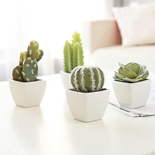 MyGift 4Stück Künstliche Mini Sukkulente & Kaktus Pflanzen in Weiß Würfelförmigen Töpfe