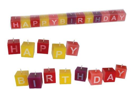 """Brubaker - Velas de cubos con mensaje """"Happy Birthday"""" (aprox. 3 x 3 cm, 13 unidades, en caja de PVC), varios colores"""