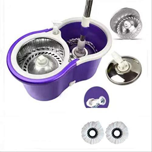 Saddpa mop set mocio rotante lavapavimenti microfibra con secchio strizzatore 360° e manico, due teste di, arancione/nero/blu/viola