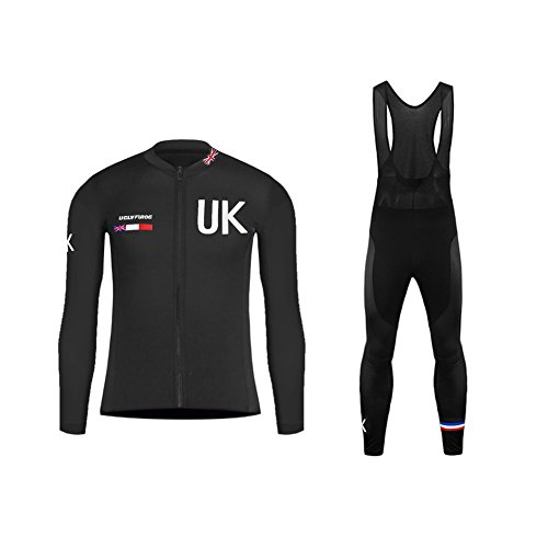 Uglyfrog #T02 2018 Bicycle Men's Cycling thermal Long Sleeve Cycling thermal Jersey+Long bib Tight with Gel Pad Winter with Fleece Triathlon Clothes