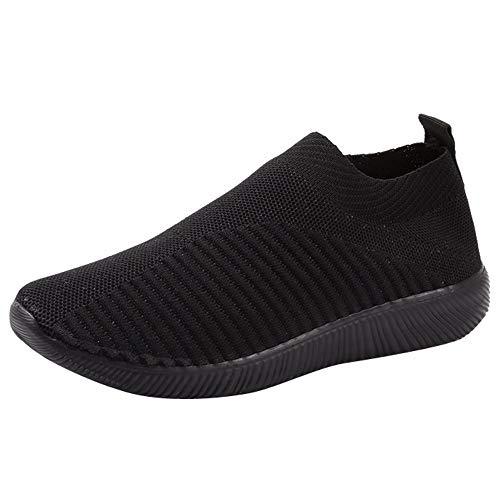 YWLINK Damen Socken Schuhe Outdoor Schuhe Freizeit Slip On Bequeme Sohlen Sports Licht Atmungsaktiv Mesh Sneakers Laufschuhe Turnschuhe Fitnessschuhe Bequeme Schuhe(Schwarz,36 EU)