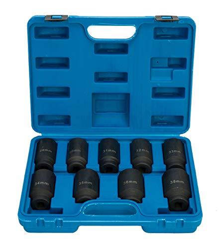 FreeTec - Juego de 9 llaves de Vaso Hexagonales Para Ampliación o Instalación de Tuercas de Eje, 1/2 Pulgadas Deluxe Axle