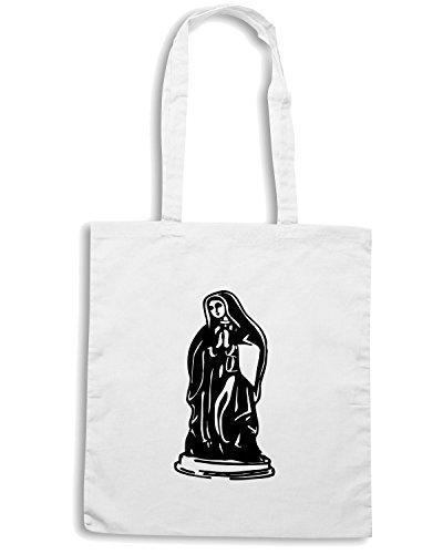T-Shirtshock - Borsa Shopping FUN0386 739 mary statue vinyl ecal 23481 Bianco