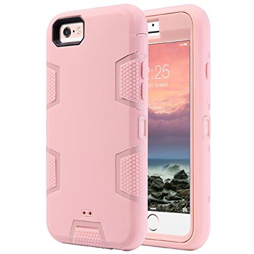 Cover per iphone 6s, ulak iphone 6 custodia ibrida a protezione integrale con parte esterna in 3 strati di morbido silicone e interno rigido per apple iphone 6s / 6 (4,7 pollice) - oro rosa