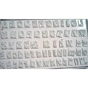 Anthony Cakeware 64 pieces alphabet cake impression emboss fonding icing cutters box set.