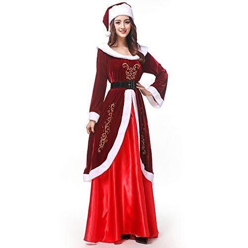POIUYT Rotes Weihnachtskostüm Klassisches Langarmkleid Für Damen Weihnachtskleid Maskerade Partykostüm Halloween Rollenspiel Strumpfhose (Kleidung + Hut + Gürtel) Damengröße,Red (Superhelden-kostüme Einfach Machen Zu)