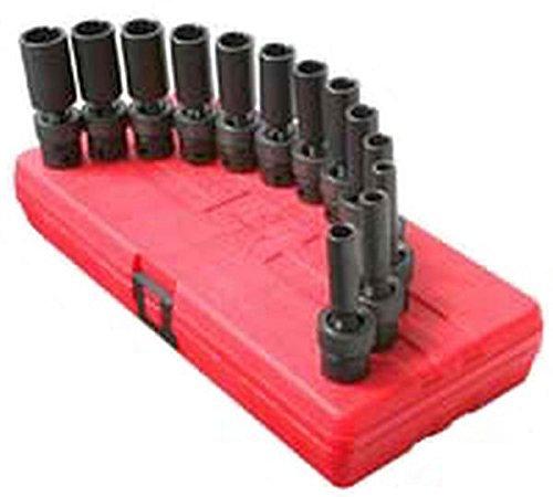 Sunex International 3678 3/8 Dr. Deep Universal 12 point Fractional Impact Socket Set, 12 pc. by Sunex - Fractional Socket Set