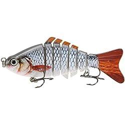 "TOOGOO(R) 10cm/4"" 15.5g Bionic Leurre Vivant Multisegements Durs pour SUN-FISH Bait Bass Yellow Perch Walleye Pike Muskie Roach Trout Swimbait"