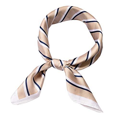 HIDOUYAL 70x70cm Bandana Patchwork Schal Halstuch Kopftuch Tasche Dekoration Scarf mit Stern Muster (Streifen-Braun)
