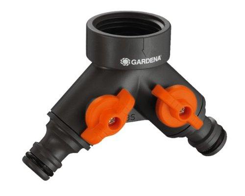 Gardena 94026 Sélecteur d'arrosage sur robinet 2 circuits filetage, Noir, 33,3 mm