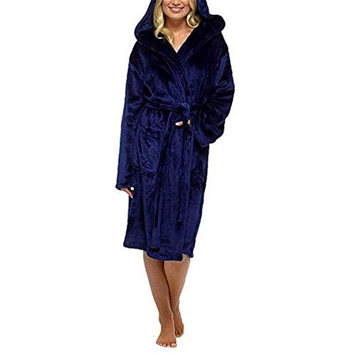 DUJUN Señoras Robe Toweling algodón Bata Albornoz Mujeres Altamente Absorbente Mujeres con Shawl Towel baño Abrigo,Cinturón cinturón Azul XXXXXL