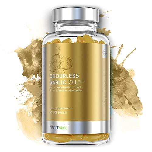 Knoblauchöl Kapseln | 90 Geruchlose Softgel Kapseln mit 1.000mg Knoblauch | 100% Hochwertiges Knoblauch Extrakt | Mit Allicin gegen Bakterien | Unterstützung des Immunsystem & Kreislauf