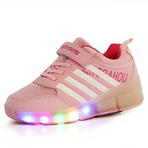 Luckly Grace Led Lumières Clignotant Couleur Changeant Chaussures à Roulettes sports Sneakers Avec rouleau Fille Garçon (28 EU, Rose)