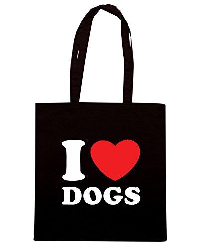 T-Shirtshock - Borsa Shopping TLOVE0102 i love dogs logo Nero