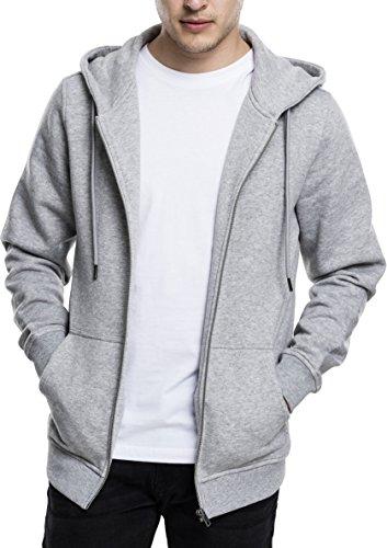 Urban Classics Herren Kapuzenjacke Basic Zip Hoodie - Einfarbiges Sweatshirt mit Kapuze, Kapuzenpullover mit Reißverschluss - Farbe Grey, Größe XL (Zip-strickjacke)