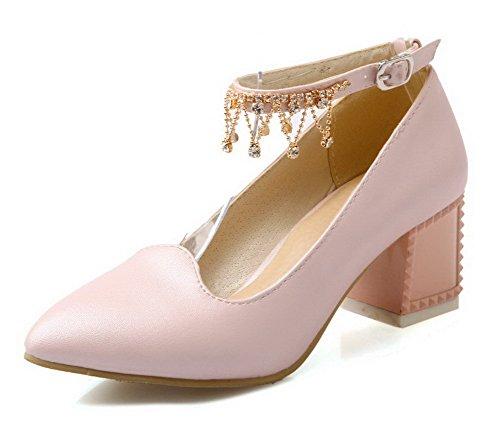 AllhqFashion Femme Boucle à Talon Correct Pu Cuir Couleur Unie Pointu Chaussures Légeres Rose