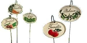 jardin potager tiquette en c ramique avec baleines m tal de 5 oignons carottes tomates. Black Bedroom Furniture Sets. Home Design Ideas